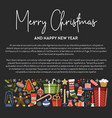 merry christmas presents and symbols of winter vector image vector image