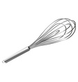 Metal whisk on white background vector image
