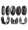 monochrome set motorcycle wheels and wings vector image vector image