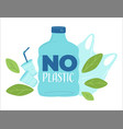 no plastic zero waste and saving planet from vector image