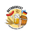 oktoberfest hand drawn munich beer festival vector image vector image