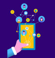 people on social media online mobile phone app vector image vector image