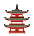 pixel japanese temple detailed isolated vector image
