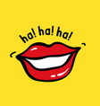 pop art red lips with text ha ha ha vector image