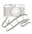 Retro photo camera with vignette vector image vector image