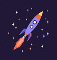 rocket ship with fire flames from engine vector image vector image
