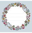 Romantic round frame with flowers hearts gifts and vector image vector image