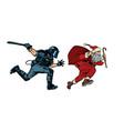 santa claus christmas riot police with a baton vector image vector image