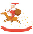 santa claus flying by riding his deer vector image