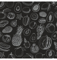 Seamless pattern with fruits on black background vector image
