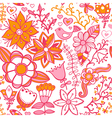Seamless texture with flowers birds and vector image vector image