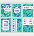 set of biology cards science templates vector image vector image