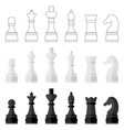 set of icons of chess pieces vector image vector image