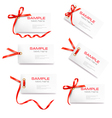 set of labels with bow and ribbons vector image vector image