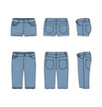 set of male and female jeans shorts vector image