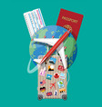 travel suitcase with stickers and world map vector image vector image