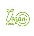 Vegan Natural Food Green Geometric Logo Design vector image vector image