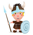 viking warrior with spider on hat vector image