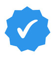 white check mark on the blue polygon 11 corners vector image vector image