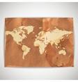 world map on cardboard grunge background vector image vector image