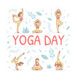 yoga day banner template with girl demonstrating vector image
