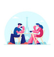 young couple drinking coffee in outdoors cafe vector image vector image