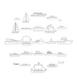 marine vessels types icons set outline style vector image