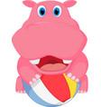 cute hippo cartoon playing ball vector image