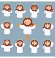 Set of Jesus flat icons vector image