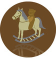 rocking horse with bear vector image