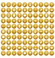100 usa icons set gold vector image vector image