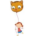 A little girl holding a cat balloon vector image vector image