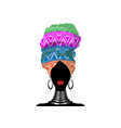 african scarf afro woman in a geometric turban vector image vector image