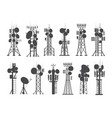 antenna silhouettes cellular towers vector image