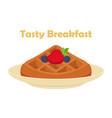 belgian chinese waffle - chocolate cream berries vector image vector image