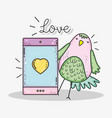 bird and smartphone with love message to vector image