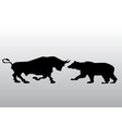black silhouette bull and bear financial vector image