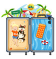 boy and dog on summer vacation vector image