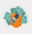 business man sits on a big mountain gold coins vector image vector image