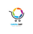camera cart logo vector image vector image
