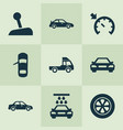 car icons set with car sedan sports automobile vector image