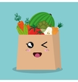 cartoon bag vegetables fruits design isolated vector image vector image