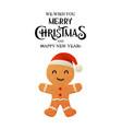 cartoon gingerbread cookie in santa claus hat on vector image