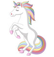 cartoon white unicorn standing on white background vector image
