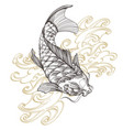 contour image of koi fish with wave japanese carp vector image vector image