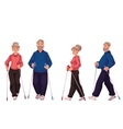 Couple of elder adult nordic walkers male and vector image vector image
