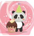 cute bear panda with cupcake kawaii birthday card vector image