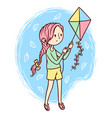 cute girl playing kites vector image