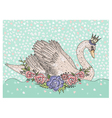 Cute swan with crown and flowers vector image