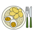 Dill sauce with potatoes vector image vector image
